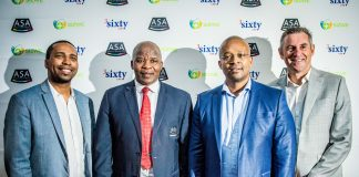 Seen here (from left to right): Dr Odwa Mazwai (Sizwe Medical Fund Clinical Executive), Aleck Skhosana (the President of Athletics South Africa), Dr Osborn Mahanjana (3Sixty Health CEO) and Michael Meyer (Managing Director Stillwater Sports). Photo Credit: Tobias Ginsberg
