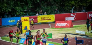 Seen here:  Junior track & field stars in action at the 2018 PUMA School of Speed Meet in Potchefstroom.  Photo Credit:  Tobias Ginsberg