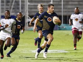 FNB Madibaz rugby captain Riaan Esterhuizen goes on the attack against University of KwaZulu-Natal in their FNB Varsity Shield semifinal last Thursday. Madibaz won 46-0 to qualify for the final against Cape Peninsula University of Technology at the Madibaz Stadium in Port Elizabeth on Thursday. Photo: Michael Sheehan
