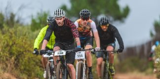 Waylon Woolcock (front) and Hennie Roux lead the bunch on their way winning the third and final stage of stage of the Liberty Winelands Encounter mountain-bike race, which ended at the Nederburg Wine Estate in Paarl today. They also won the overall title. Photo: Henk Neuhoff