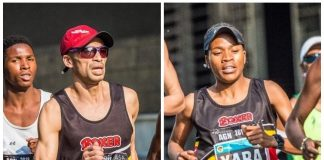 Seen here: Elroy Gelant and Glenrose Xaba in action at the 2018 FNB Joburg 10K CITYRUN, sister-event to the FNB Cape Town 12 ONERUN.Photo Credit: Tobias Ginsberg