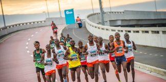 Seen here (far left): Kenyan John Langat in action during the 2018 FNB Cape Town 12 ONERUN.Photo Credit: Tobias Ginsberg