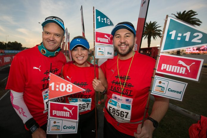 Seen here (from left to right): Craig Stachan, Petro Neethling and Conrad Koorts were part of the pacesetting team at the 2017 FNB Cape Town 12 ONERUN. Photo Credit: Mark Sampson