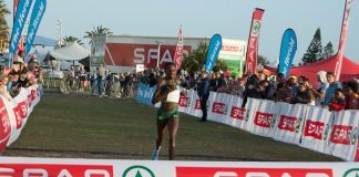 Namibian Helalia Johannes set a personal best time of 31.50 in winning the SPAR Women's Challenge 10km race at the Summerstrand beachfront in Port Elizabeth today. Photo: Full Stop Communications