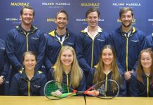 The Madibaz squash team to compete in the University Sport South Africa tournament in Cape Town from June 30 to July 5 is (back, from the left) Murray Schepers, Johan Thiel, Jason le Roux (coach), Liam Ford (manager), Warren Bower, Gershwin Forbes, (front, from the left) Bianca Brown, Hayley Ward, Micaela Boy and Dani Shone. Photo: Brittany Blaauw