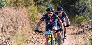 Francois Ebersohn (front) and Philip Fourie won the Liberty Waterberg Encounter mountain-bike race near Bela-Bela in Limpopo today. Photo: Henk Neuhoff