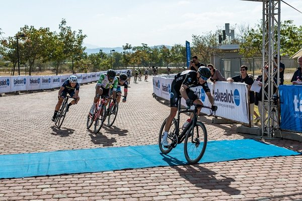 NAD MTB Pro's Nico Bell crosses the line to win the third stage and overall honours in the Takealot Jock Classic road cycle race over 150km at Mbombela Stadium in Nelspruit, Mpumalanga, today. Photo: Henk Neuhoff