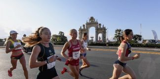 University of Johannesburg athlete Rachel Leistra (in dark green) competes in the team half-marathon race at the World Student Games in Naples, Italy, earlier this month. Photo: Supplied