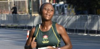 University Sport South Africa's Lesego Mpshe competes in the women's team half-marathon event at the World Student Games in Napoli, Italy, earlier this month. The SA team won the bronze medal. Photo: Supplied