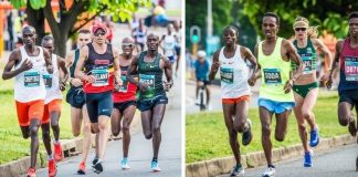 Seen here (from left to right): The Elite Men's and Elite Women's Field in action during the 2018 FNB Durban 10K CITYSURFRUN. Photo Credit: Tobias Ginsberg