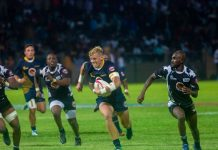 Madibaz centre Chris Hollis goes on a run in the Varsity Shield rugby match against Walter Sisulu University early this year. The teams will meet in the final match of the annual Eastern Cape intervarsity at Nelson Mandela University in Port Elizabeth on Saturday. Photo: Carlo Jonkerman
