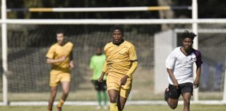 Siwaphiwe Maso [with ball] will have an important role to play for Madibaz when they compete in the University Sport South Africa football tournament