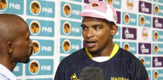 FNB Madibaz captain Luvo Claassen is interviewed after winning the Player that Rocks award
