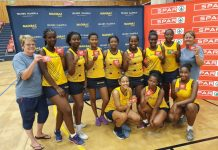 The Madibaz C1 team celebrate their victory in the C section of the SPAR Madibaz Netball Tournament