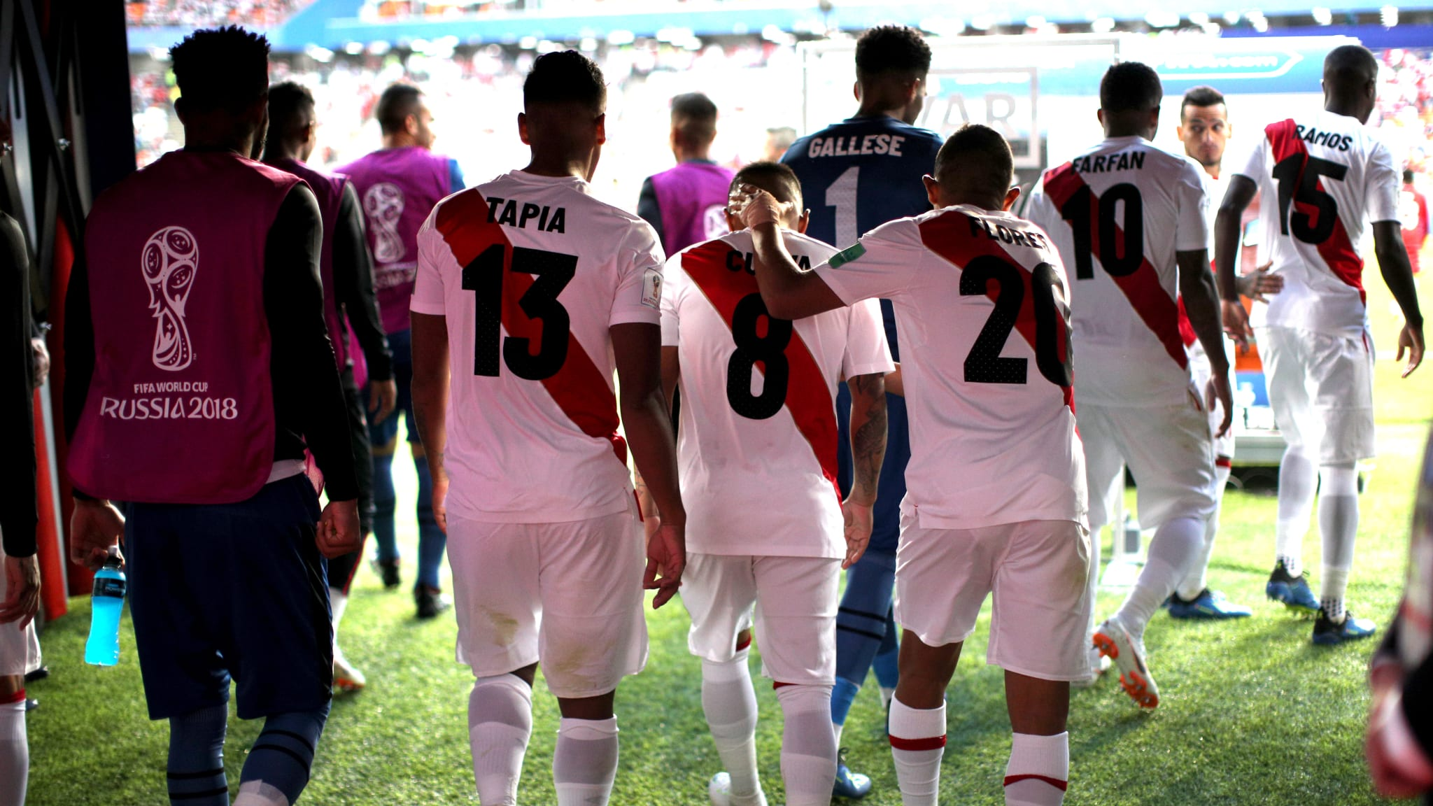 The Peru team walk out to the pitch   Peru v Denmark: 2018 FIFA World Cup Russia