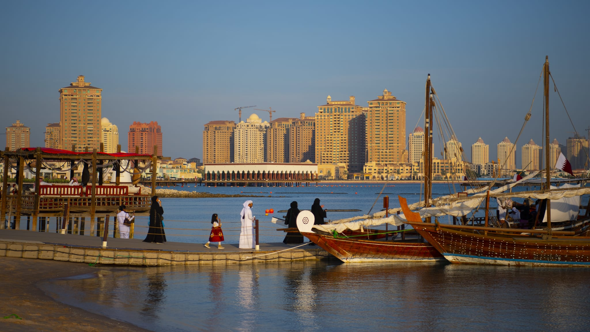 View of the Pearl-Qatar from the beach of the Katara Cultural Village