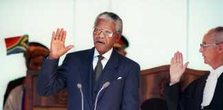 Nelson Mandela takes the oath 10 May 1994