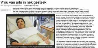 Maretha Mineur, stabbed in throat and shoulder