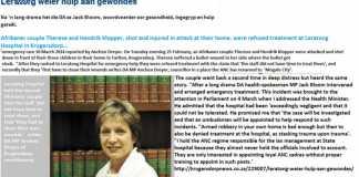 Shot, injured Afrikaner attack victims Therese and Hendrik Klopper refused treatment at Leratong Hospital