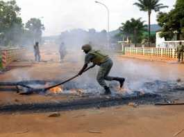 African Union MISCA forces from Cameroon in Bangui, Central African Republic