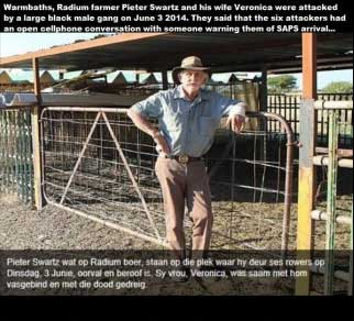 Pieter Swartz survive farm attack by 6 black males