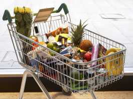 A shopping trolley of Fairtrade goods