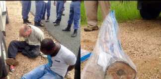 Suspects arrested in possession of hunting rifle and rhino horn. Photo: SAPS