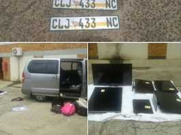 Three suspects arrested for stolen property, unlicensed firearm. Photo: SAPS