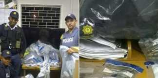 Rifle, police uniforms confiscated after tip-off. Photo: SAPS