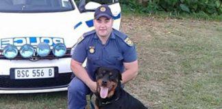 Sergeant Brandon Gates and Zeus Photo: SAPS