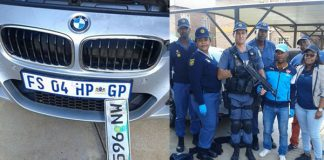 High speed car chase with the police.Photo : SAPS