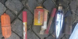 Suspect arrested for possession of explosives, drugs and ammunition. Photo : SAPS