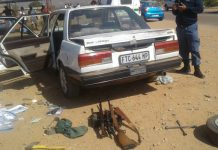 Vehicle chase, police arrest two with firearms, Burgersfort. Photo : SAPS