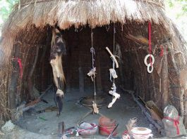 African witchdoctor hut with muti ingrediants hanging in entrance. Photo: Altered Dimensions Paranormal