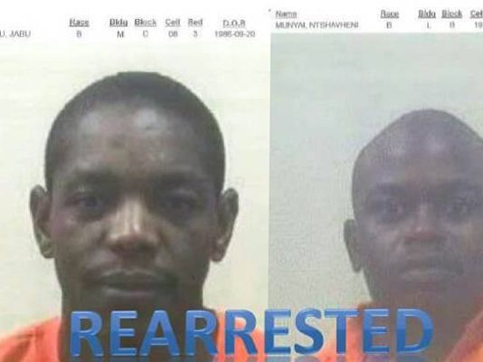 2 murder and rape escapees re arrested, Waterval. Photo: SAPS