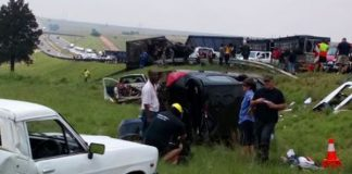 Truck ploughs into 'Black Monday' protest, N4 Middleburg. Photo: Arrive Alive