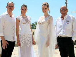 Showing off some of the designs that will form part of the SPAR Eastern Cape Jason Kieck Fashion Extravaganza are, from left, Jason Kieck, Carla Petzer, Adria van der Merwe and SPAR EC sponsorships and events manager Alan Stapleton.