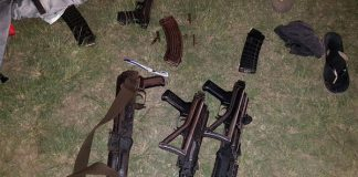 Automatic weapons recovered after high speed chase, Mthatha. Photo: SAPS