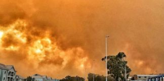 Residents evacuate as fire spreads, Gordon Bay. Photo: SAPS
