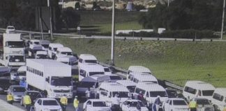 Taxi protest underway, large police presence. Photo: SAPS