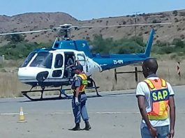 SAPS helicopter joins in operation, Colesberg. Photo: SAPS