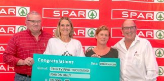 SPAR Eastern Cape marketing director Abri Swart (left) and SPAR EC sponsorship and events manager Alan Stapleton (right) hand over a cheque of R35 000 to Philippa Fabbri (second from left) and Katherine Liebenberg of Elsen Academy at the annual SPAR EC charity golf day at Humewood in Port Elizabeth last week.