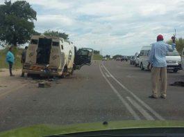 Cash in transit vehicle bombed, policeman injured, Acornhoek. Photo: Crime watch