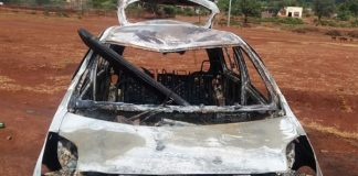 Mob attack, suspect burnt to ashes in his car, Burgersfort. Photo: SAPS