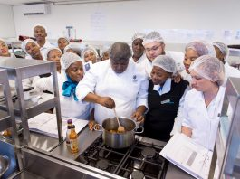 Lucretia Mathedimosa and other participants learning how to perfect their dishes at the Shoprite Group's Road to Freshness training