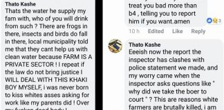 Farm worker threatens farmer with death on Facebook. Photo: Front Nasionaal SA