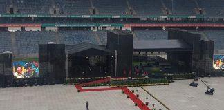 Preparations for Winnies funeral, Orlando stadium, Soweto. Photo: SAPS