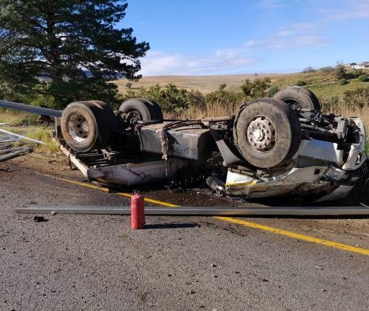 Truck driver dies after vehicle rolls, KZN. Photo: Netcare 911