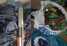 Firearms and ammunition discovery at a school , Zwide. Photo: SAPS
