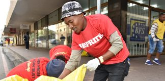 Shoprite volunteers at one of the clean-ups of the Bloemfontein city centre